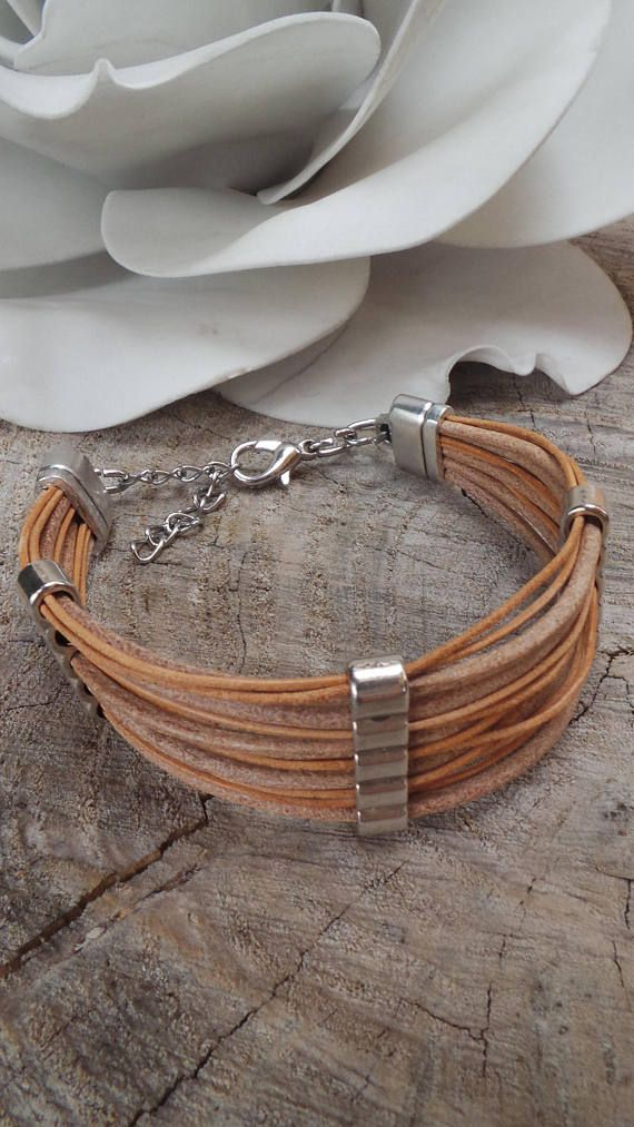 Mens leather cuff bracelet.Unisex leather cuff bracelet. His and hers bracelet. Mens wrap bracelet. Gift for him.Multi strand mens bracelet.