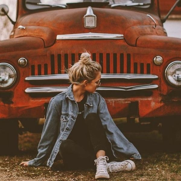 car/ rustic setting, pose and outfit