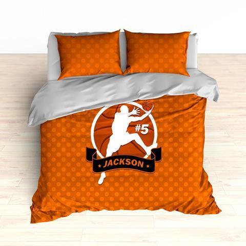 Personalized Basketball Bedding Orange Dots Custom Duvet Or Comforter Set