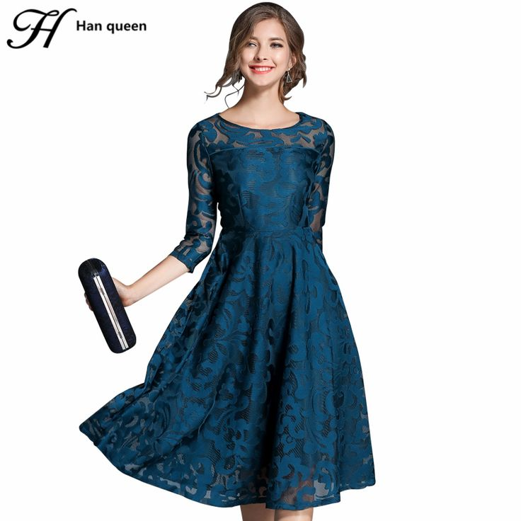 H han queen Autumn Lace Dress Work Casual Slim Fashion O-neck Sexy Hollow Out Blue Red Dresses Women A-line Vintage Vestidos //Price: $46.99 & FREE Shipping //     #hashtag3