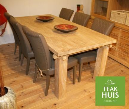 Teakhouten eettafel Dijawa Prachtige eettafel met ambachtelijke houten ...