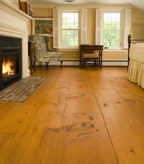 Wide plank eastern white pine flooring interiors for Hardwood floors examples