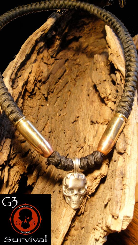 Mens 550 paracord necklace with two 45 inert bullets by G3survival