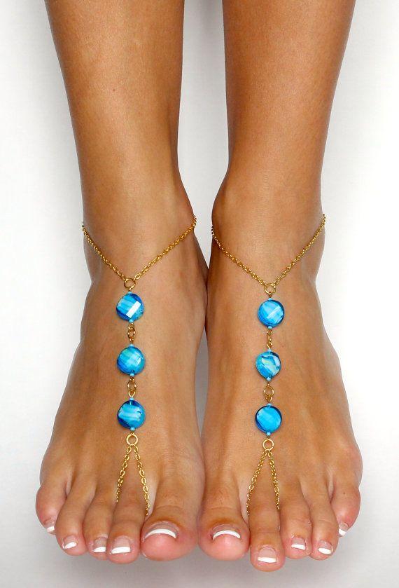 Chained Bohemian Barefoot Sandals Aqua Turquoise от BareSandals