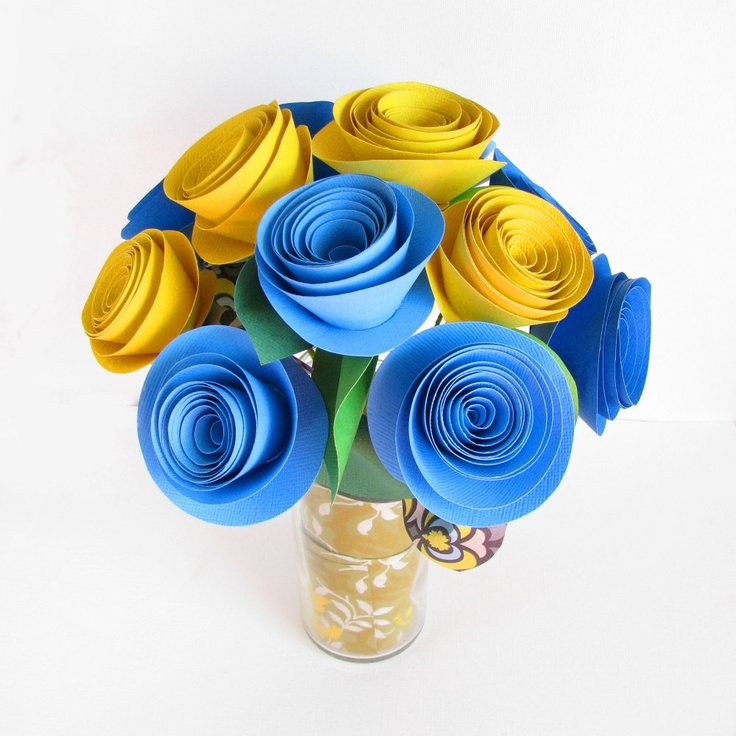 DIY paper flower kit . blue and yellow flowers . Mothers Day, bridesmaid bouquet, DIY wedding, craft kit, DIY deco kit. $16.50, via Etsy.
