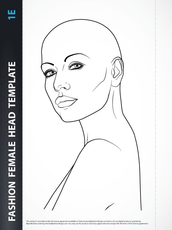 Hairstyle - Female Head Template | Sketches | Pinterest ...