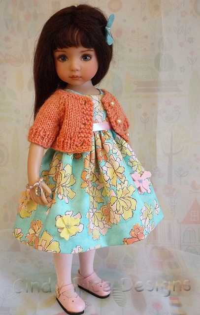Flowers & Sunshine, an OOAK outfit for Dianna Effner's Little Darlings dolls.: