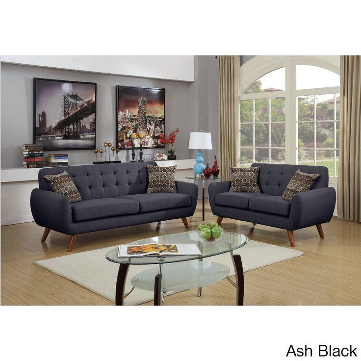 Argo Vine Tufted Polyfiber 2-piece Living Room Sofa Set