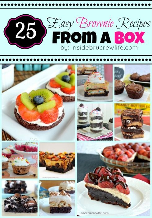 25 Easy Brownie Recipes from a Box - brownie recipes that include candy, cookies, or fruit #brownies