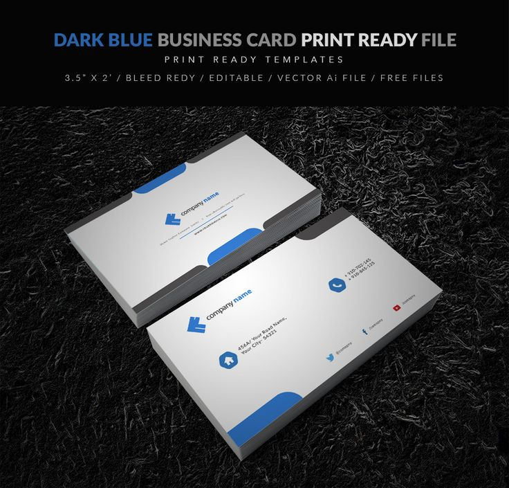 13 best business card templates free vector psd print ready dark blue business card vector downalod flashek Image collections