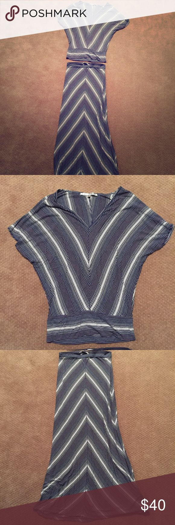 Max Studio Two-Piece Dress Blue and white two-piece dress. Worn but in excellent condition. Top is M, maxi skirt is S. From a smoke-free home. Max Studio Dresses Maxi