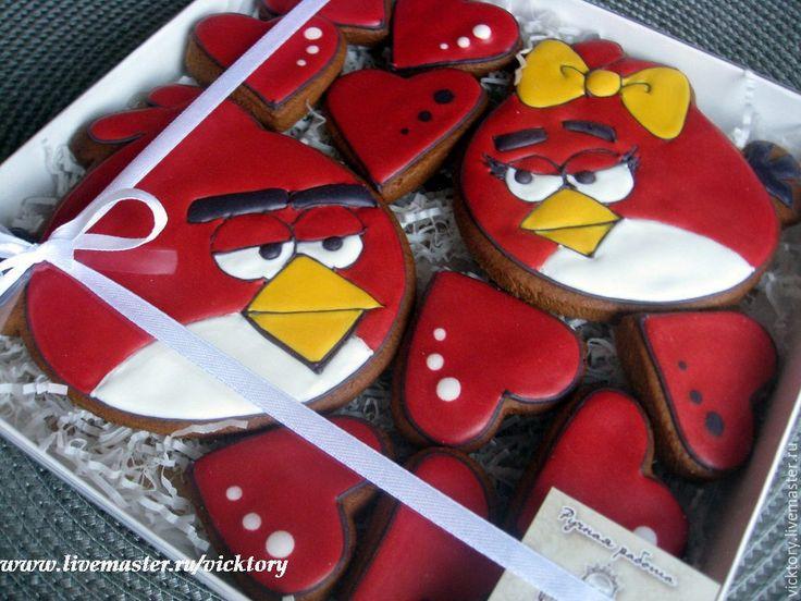 Купить Расписные пряники козули Angry Berds для детских праздников - angry birds пряники