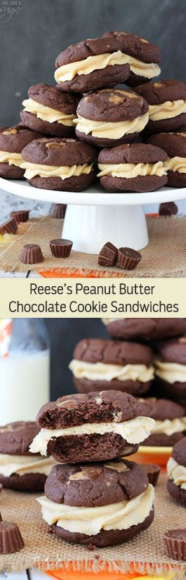 Reese's Peanut Butter Chocolate Cookie Sandwiches - moist and chewy chocolate cookies stuffed with mini Reese's, then filled with cream cheese peanut butter icing!