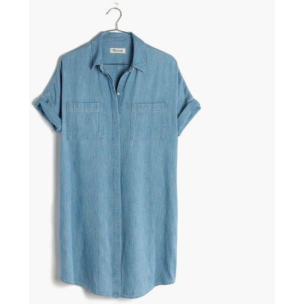 MADEWELL Denim Courier Shirtdress ($98) ❤ liked on Polyvore featuring dresses, kieran wash, denim dress, madewell, long shirt dress, embroidered dress and madewell dresses