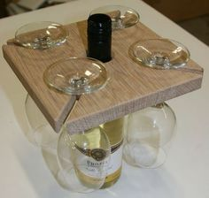 How to Make Your Own: Wine Bottle and Glass Holder from scrap wood