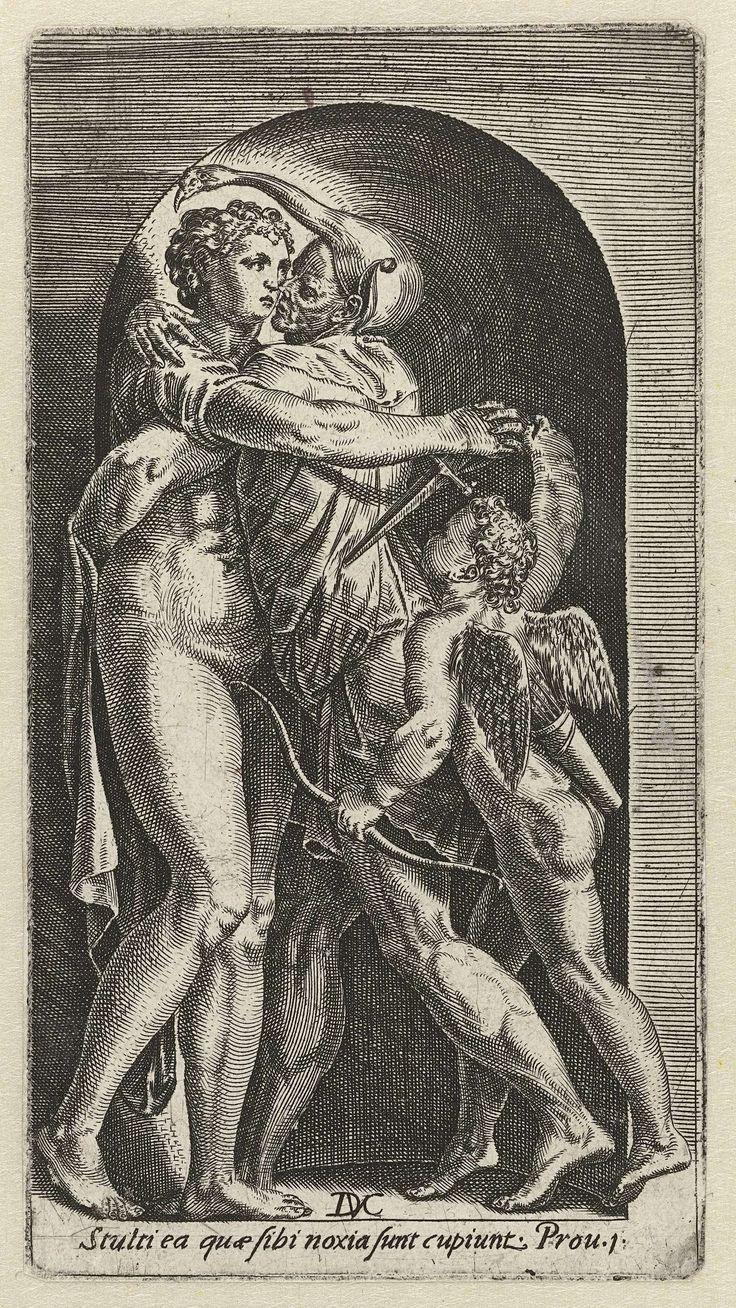 Dirck Volckertsz Coornhert   Dwaasheid van lust, Dirck Volckertsz Coornhert, 1532 - 1590   Een zot omarmt de naakte Lust (Venus?), onbewust van het feit dat de vrouw, met de hulp van Cupido, een dolk in zijn rug plant. De prent heeft een Latijns onderschrift dat waarschuwt voor de gevaren van zinnelijke begeerte.