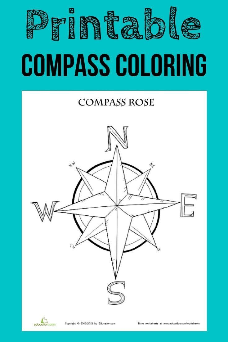 Using A Compass Rose Worksheet Pass Rose Coloring Page Compass Rose Compass Rose Activities Kindergarten Worksheets