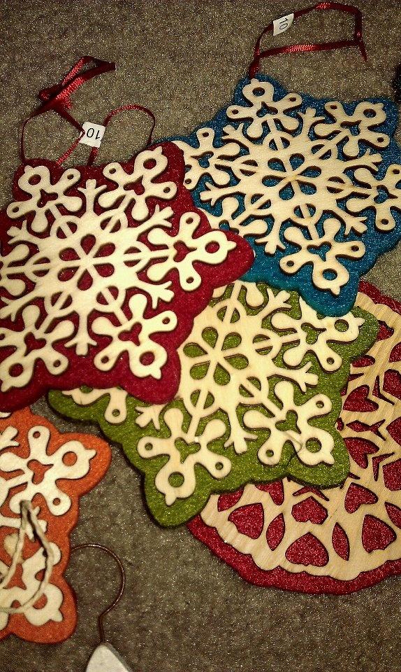 last years ornaments. felt snowflakes.