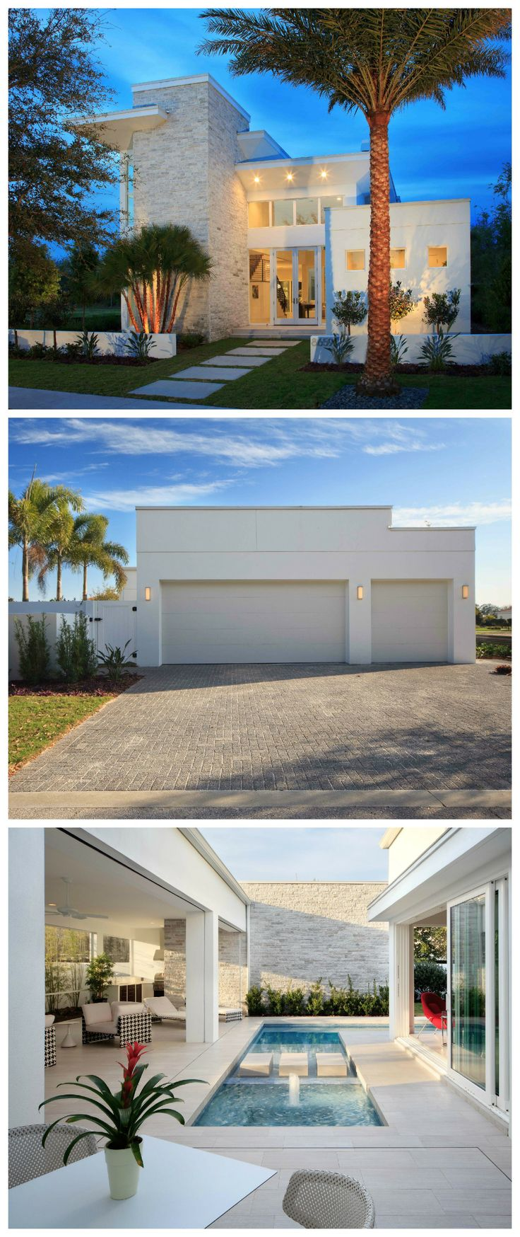 A Clopay flush panel steel door is a sleek garage door design option for a contemporary home like this Lake Nona, FL 2014 Parade of Homes model designed by Phil Kean Design Group. Another option is the Avante Collection glass garage door, which is a preferred choice of Phil's on his Waycool Homes portfolio. Take a look at both options at http://www.clopaydoor.com/