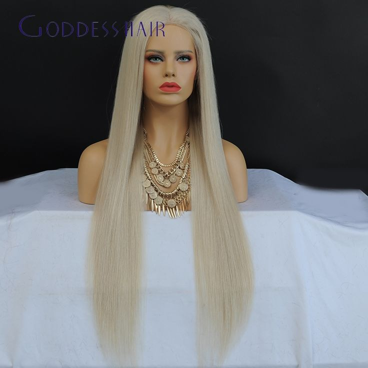 273.00$  Buy here - http://alidtd.worldwells.pw/go.php?t=32784256642 - 150% density blonde full lace wig silky straight human hair for black women middle part 60# long blonde wig with large cap 273.00$