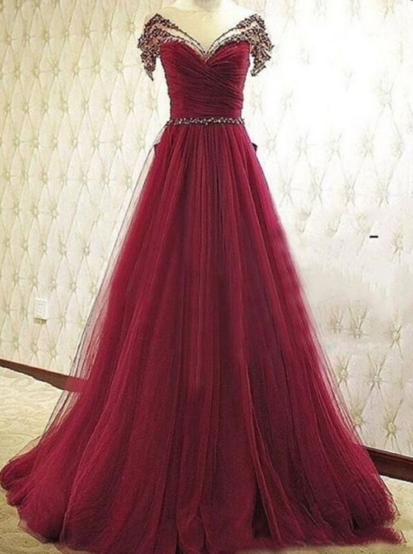 Elegant A-Line Off-the-Shoulder Court Train Burgundy Prom Dress/Evening Dress…
