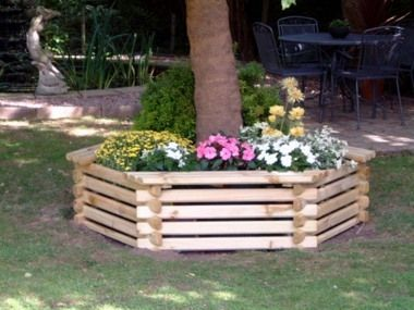 Planter Arounda Tree | GreatGardens Wooden Hexagonal Build Around Tree Seat Planter  Large