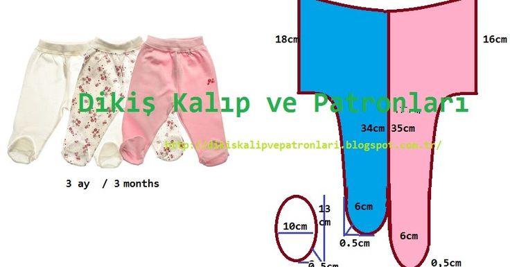 3 ay ve 9 ay bebek için patikli, çoraplı alt pijaması kalıbı ve ölçüleri