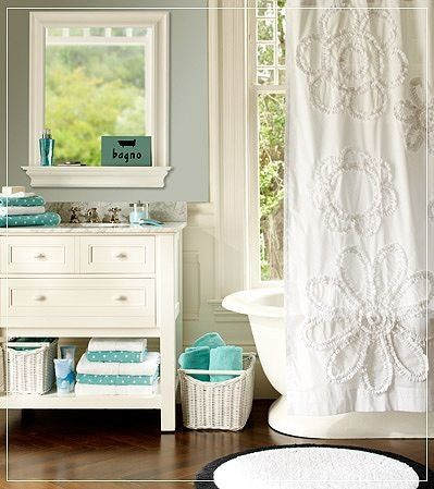 White & Teal Theme with a touch of whimsy for my bathroom theme