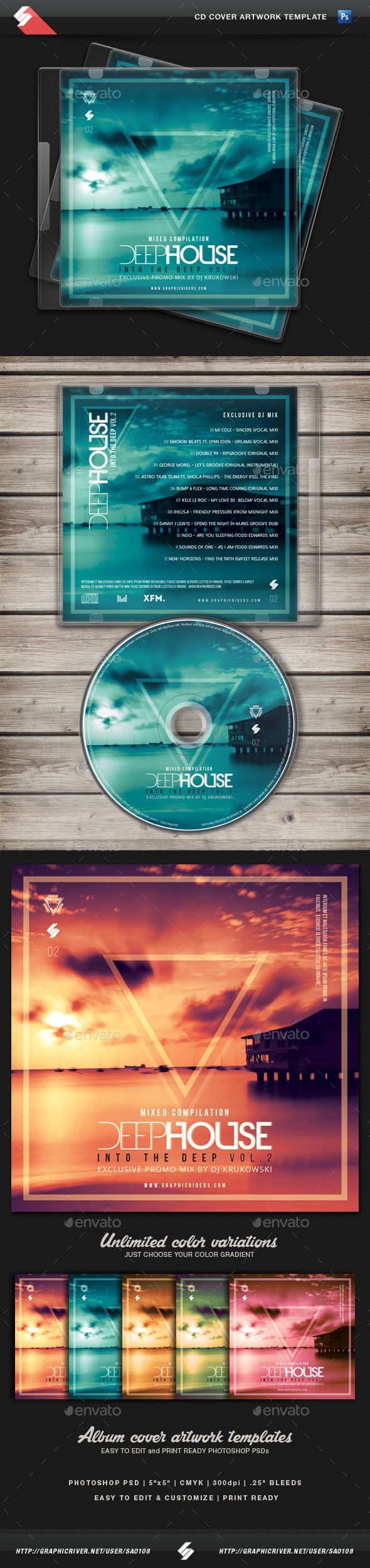 Deep House Mix 2 - CD Cover Artwork Template