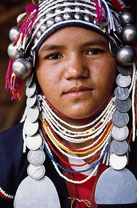 Thailand | An Akha hill-tribe woman traditionally adorned | © Paul Quayle. #face #photography