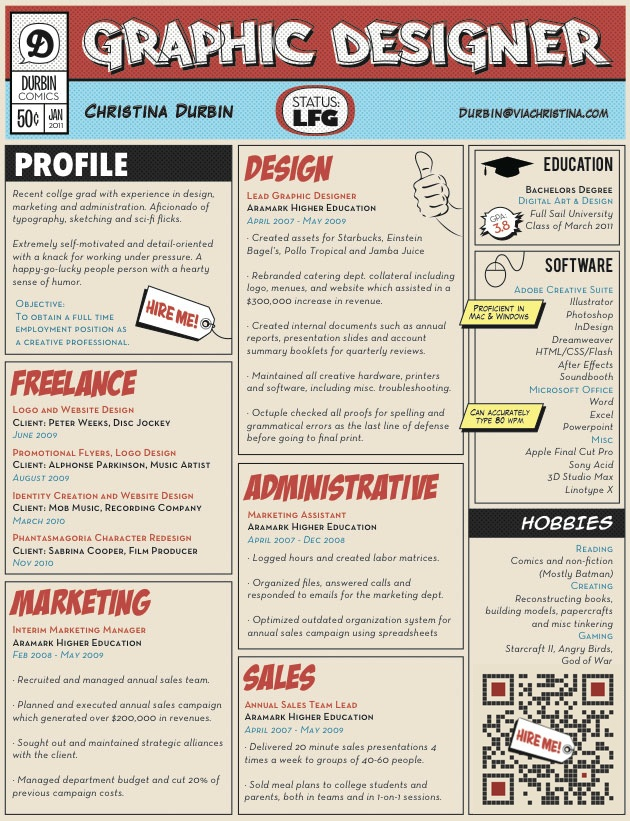 Attach a QR code to your CV to detail your skills (e.g. Linked In). Via http://iqr.hrubasko.com/