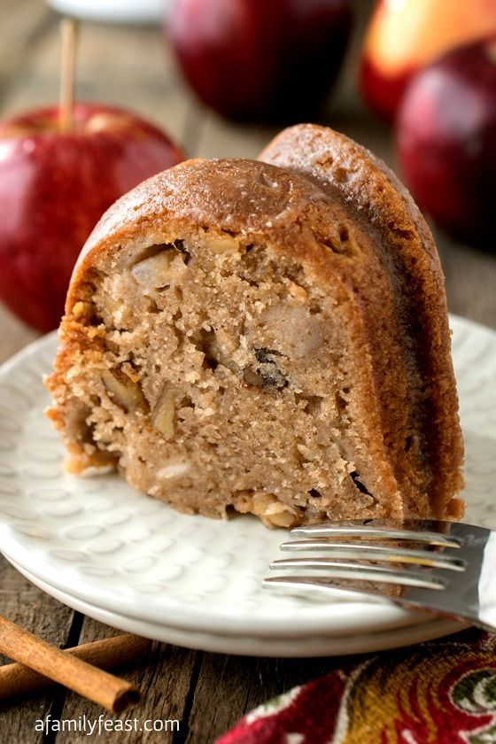 The Best Apple Cake Ever! | www.afamilyfeast.com | #apples #desserts #easyrecipes  The perfect sweet and spicy cake, baked with chunks of apples and walnuts and smothered in a sweet, buttery vanilla glaze. So easy to make too!