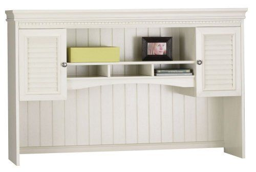 Bush Furniture Fairview Antique White Hutch For L Desk By
