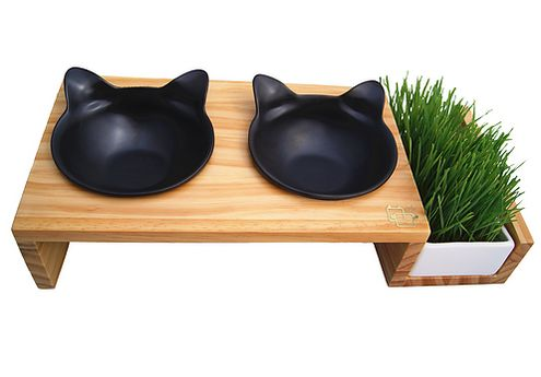 This feeding station with a cat grass nook. | 18 Clever Products To Make Your Home Stylishly Cat-Friendly