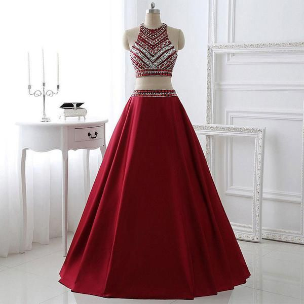 A-line Two Piece Prom Dresses,Burgundy Satin Halter Long Formal Dresses,apd1810