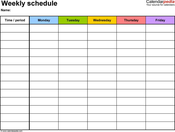 Weekly schedule template for Word version 1: landscape, 1 page, Monday to Friday (5 day week), in color
