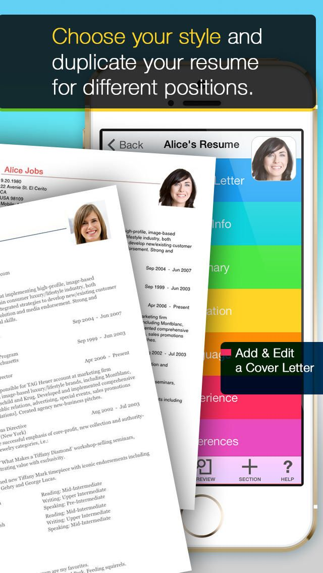 Resume Mobile   Pro Resume Maker On The Go App  Sheryl Sandberg Resume