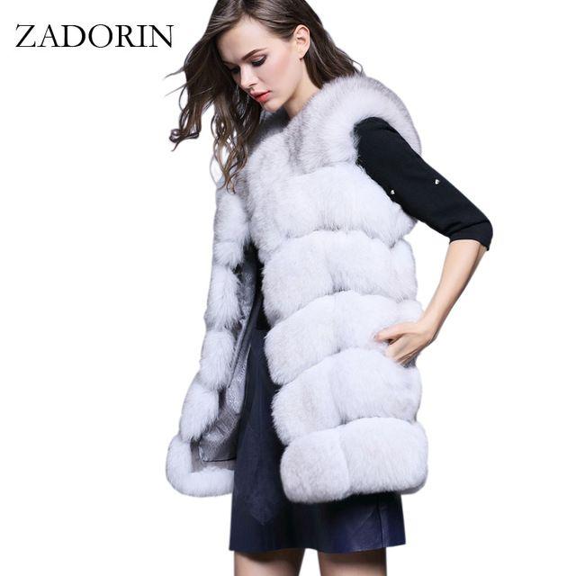 Amazing Deal $32.52, Buy S-4XL Female Fur Waistcoat 2017 New Winter Warm Faux Fox Fur Vest Women High-Grade Cappa Fashion O-Neck Long Fur Coat Cardigan