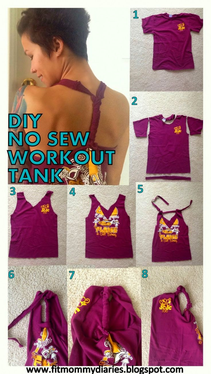 5 Minute DIY No Sew Workout Tank tutorial. All you need is an old shirt and a pair of scissors!