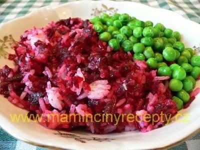 Červená rýže s hráškem