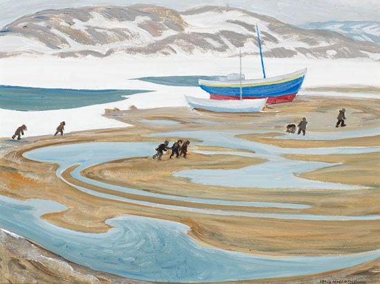 Doris Jean McCarthy - The Trek to School Cape Dorset 12 x 16 Oil on board
