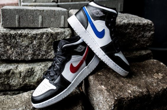 newest 912f8 00887 Mismatching Swooshes Land On The Air Jordan 1 Mid GS Black Multicolor The  Air Jordan 1