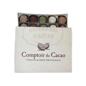 Truffes fantaisie au chocolat pralinées (x20) Comptoir du Cacao - Boite en bois 260g. www.gourmandsdantan.fr