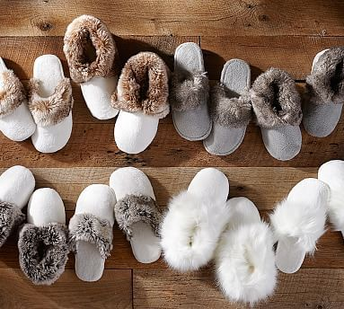 Keeping your feet warm on the wood floors. Cozy Faux Fur Slippers #potterybarn