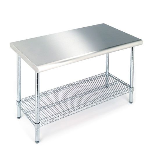 Features:  -Includes leveling feet.  -Adjustable shelf.  -Top material: Brushed 304 stainless steel.  -Work table surface has curved edge for added safety.  -NSF Certified.  -Finish: Stainless steel.