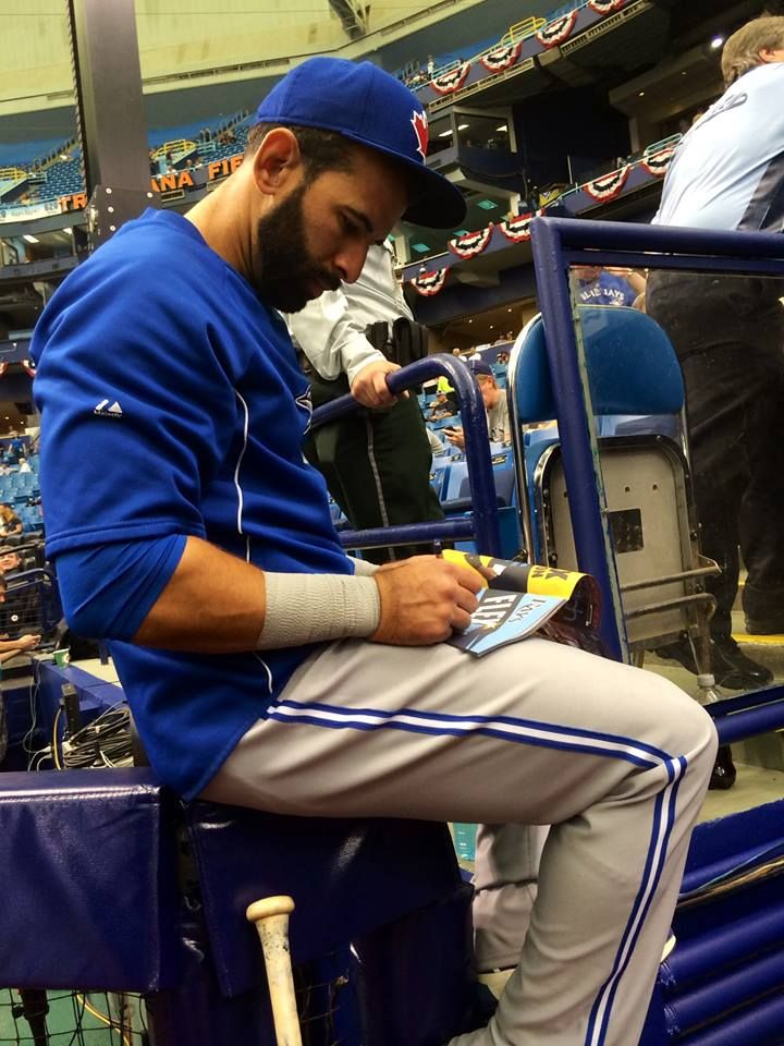 Jose Bautista signs some autographs on Blue Jays Opening Day