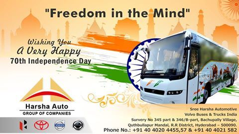 Thousands laid down their lives for us to celebrate this day. On this 70th year of independence, let's take a pledge that we will never forget their sacrifices. Happy Independence Day 2016! ‪#‎HappyIndependenceday‬ ‪#‎IndianIndependenceday‬ ‪#‎IndependenceDay2016‬ ‪#‎volvo‬ ‪#‎hyderabaddealers‬ ‪#‎volvodealers‬ ‪#‎harshavolvo‬
