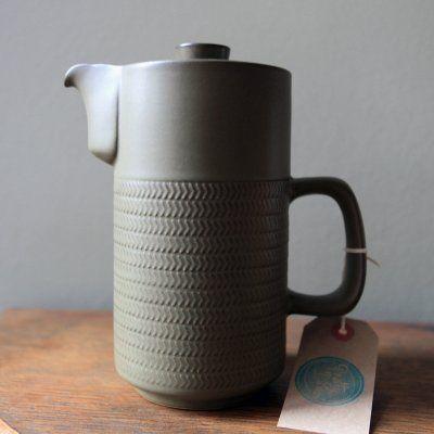 Vintage Denby Chevron Coffee Pot - Gill Pemberton 1960s design