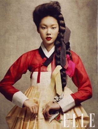 Traditional korean hairdo(braided hair for single women) 'Daeng-Gi'  from ELLE MAGAZINE