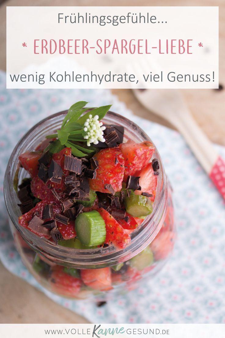 Spargel und Erdbeeren - was gibt es für eine schönere Zeit als die, wenn diese beiden Superfoods Saison haben? Daraus machen wir heute ein Low Carb Dessert - zum schlemmen und genießen. Ganz nebenbei tust du noch etwas für deine Gesundheit, denn die beiden liefern super Nährstoffe. Wenig Kohlenhydrate, voller Genuss! Das Rezept für deine Low Carb Küche findest du auf www.volle-kanne-gesund.de #spargel #essenohnekohlenhydrate #lowcarbrezept